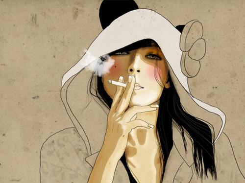 brunette-cigarette-girl-hood-illustration-smoke-Favim.com-57944
