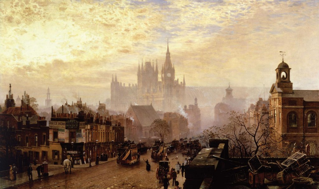 John-OConnor-From-Pentonville-Road-looking-west-evening-1884.-Museum-of-London.